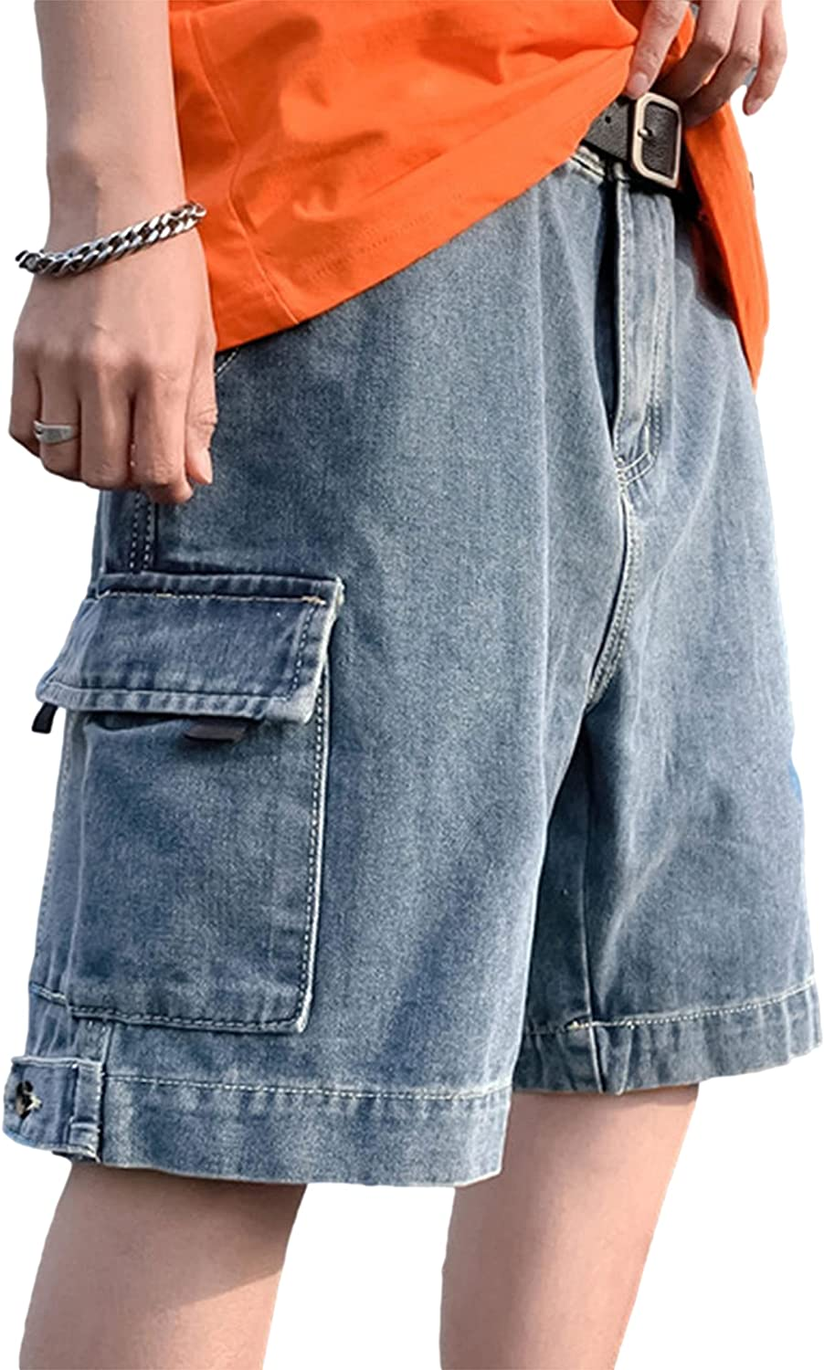 Zontroldy Mens Cargo Shorts Summer Relaxed Workout Denim Jean Shorts with Pockets