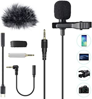 Professional Lavalier Microphone, AGPTEK Clip-on Lapel Omnidirectional Condenser Mic with Wind Muff & 3 Adapters for YouTu...