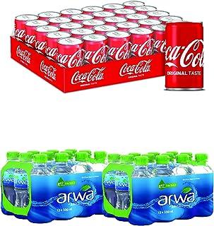 Coca-Cola Original Taste Soft Drink in Can, 150 ml (Pack of 30) + Arwa Drinking Water, 330 ml (Pack of 24)