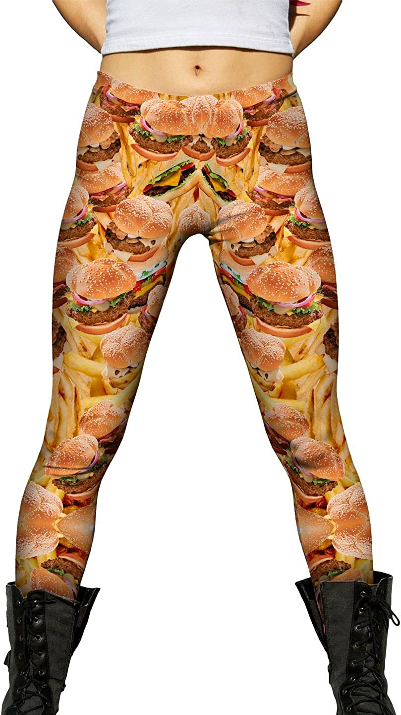 Yizzam- Financial sales sale Special price Hamburgers and Fries- Leggings Womens Ladies