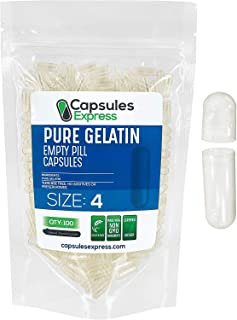 Capsules Express- Size 4 Clear Empty Gelatin Capsules 100 Count - Kosher and Halal - Pure Gelatin Pill Capsule - DIY Powde...