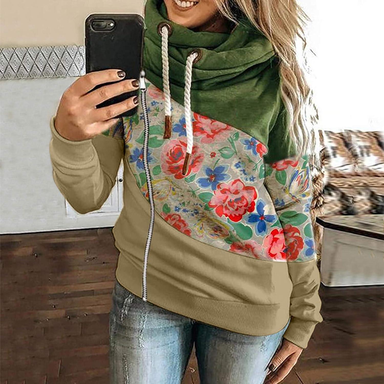FantaisieZ Damen Herbst Winter Hoodie Outwear Kapuzenpullover Frauen Warm Elegante Hooded Sweatshirt mit Kapuze Mantel Jacke Tops Outwear Hoodie mit Kordel und Taschen Beige-2