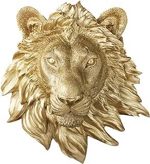 silver lion head wall decor