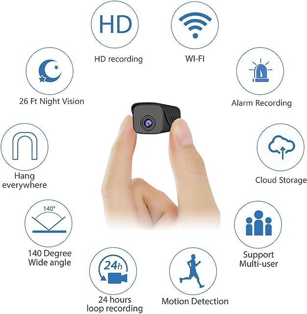 Mini cámara espía Oculta visión Nocturna visión Nocturna cámara espía IP HD cámara espía pequeña con visión Nocturna Almacenamiento en la Nube detección de Movimiento para iOS/Android/PC