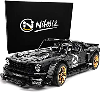 Nifeliz Black Sports Car MH34 MOC Building Blocks and Engineering Toy, Adult Collectible Model Cars Kits to Build, 1:8 Scale Racer Model (3168 Pieces, Upgraded)