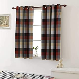 shenglv Plaid Customized Curtains Checkered Squares Pattern with Colorful Quilt Design Abstract Geometric Arrangement Curtains for Kitchen Windows W63 x L45 Inch Multicolor