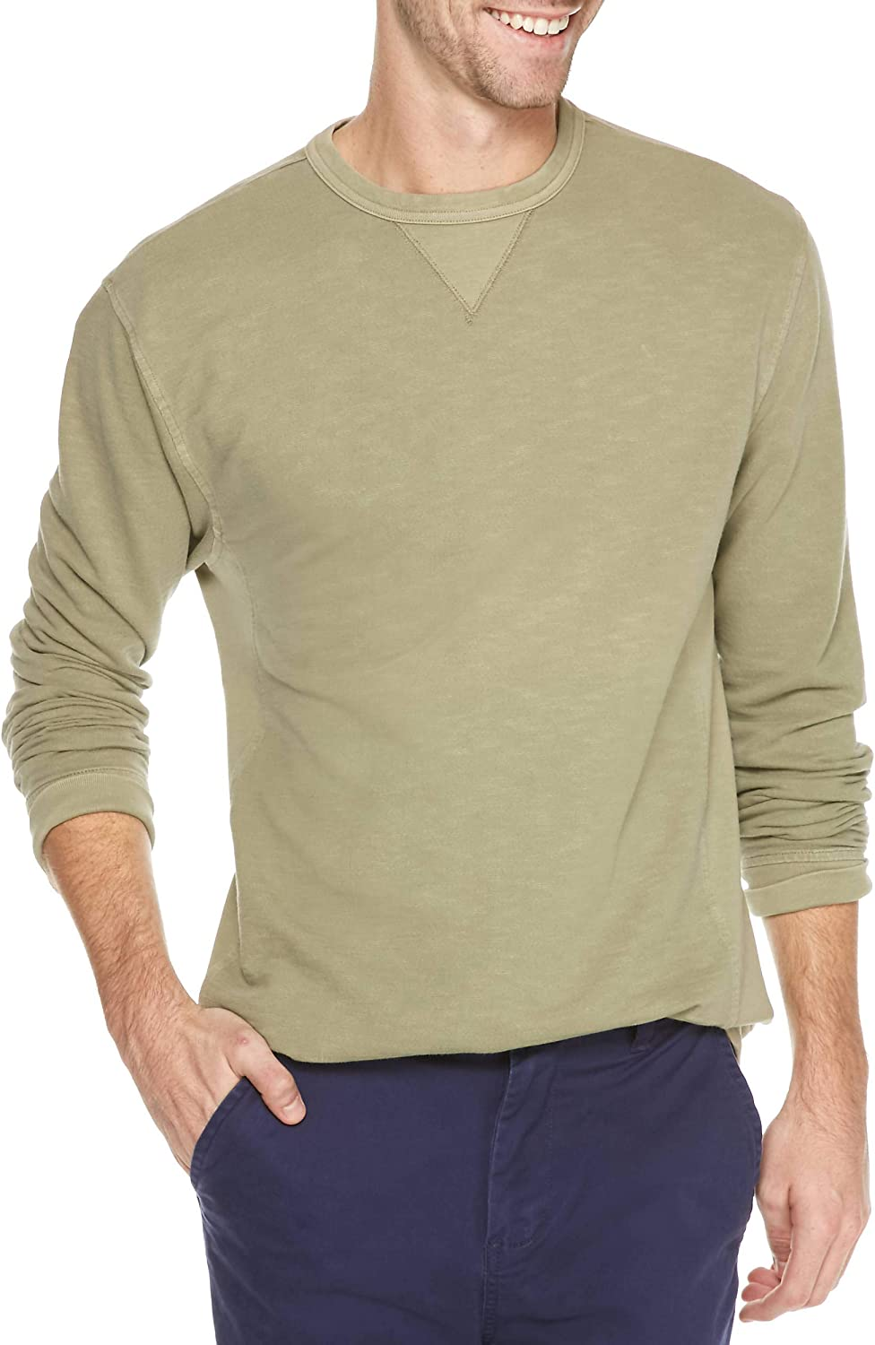 Crown & Ivy Men's Big & Tall French Terry Crew Pullover