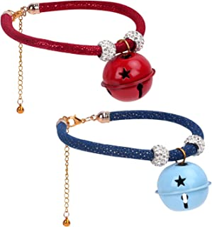 VavoPaw Adjustable Pets Collar with Small Bell, [2 Pack] Dog Cat Puppy Collar Pets Necklace Decoration Ornaments Accessories with Jingle Bells