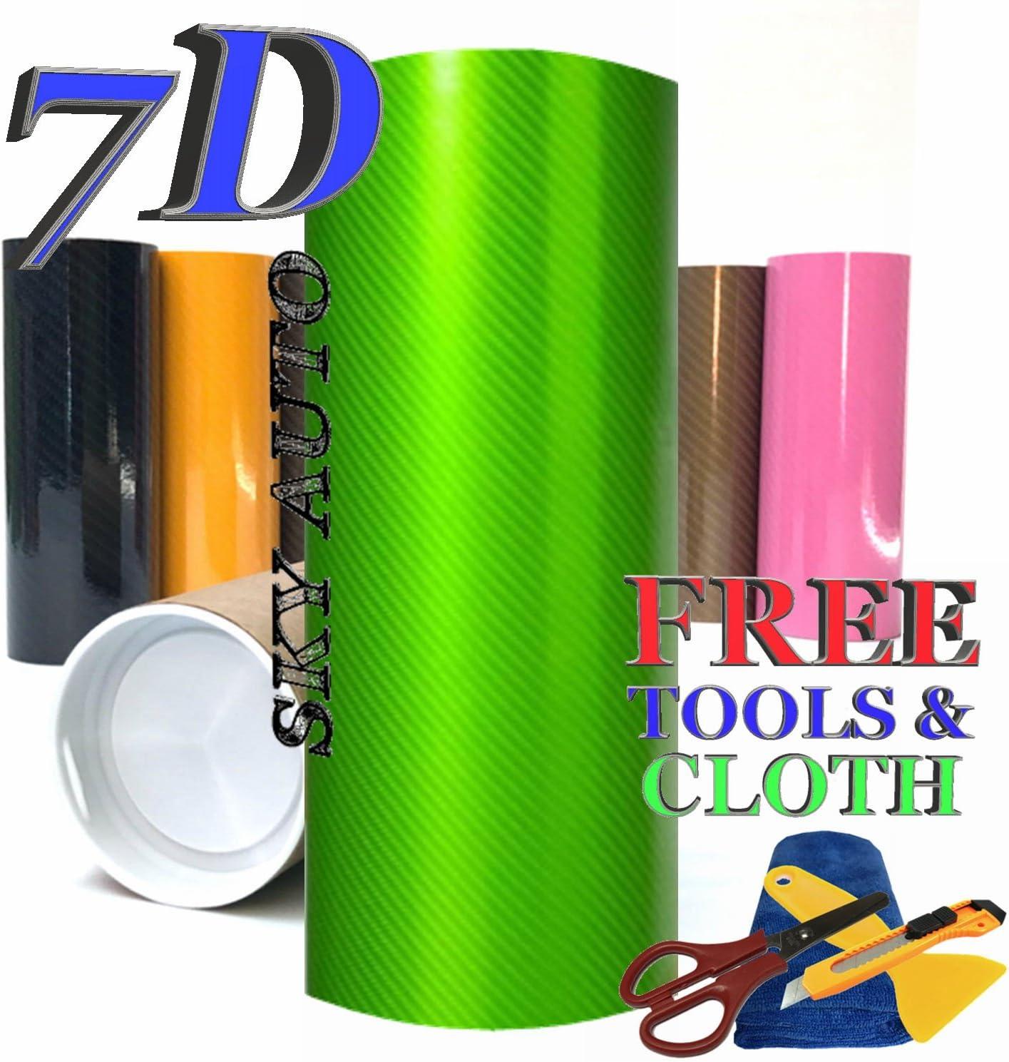 Sky Auto INC 7D High Glossy Max 80% OFF Carbon Vinyl Wrap Fiber Sheet Elegant with A