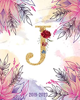 J - 2019-2023: Monogram Initial J Watercolor Floral, Monthly Schedule Organizer, 60 Months Calendar Planner Agenda with Holidays