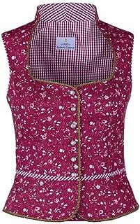 Ramona Lippert Damen Dirndl Bluse Marion Rot Geblümt mit Schneewittchenkragen - Trachtenbluse - Blusen für Trachten z.B. zum Oktoberfest