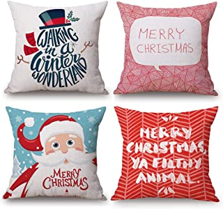 Asamour 4 Pack Christmas Decorative Throw Pillow Covers Xmas Festive Red Santa with Funny Letters Words Cotton Linen Pillow Case Cushion Cover 18''x18'' for Home Car (4 Pack Xmas-A)