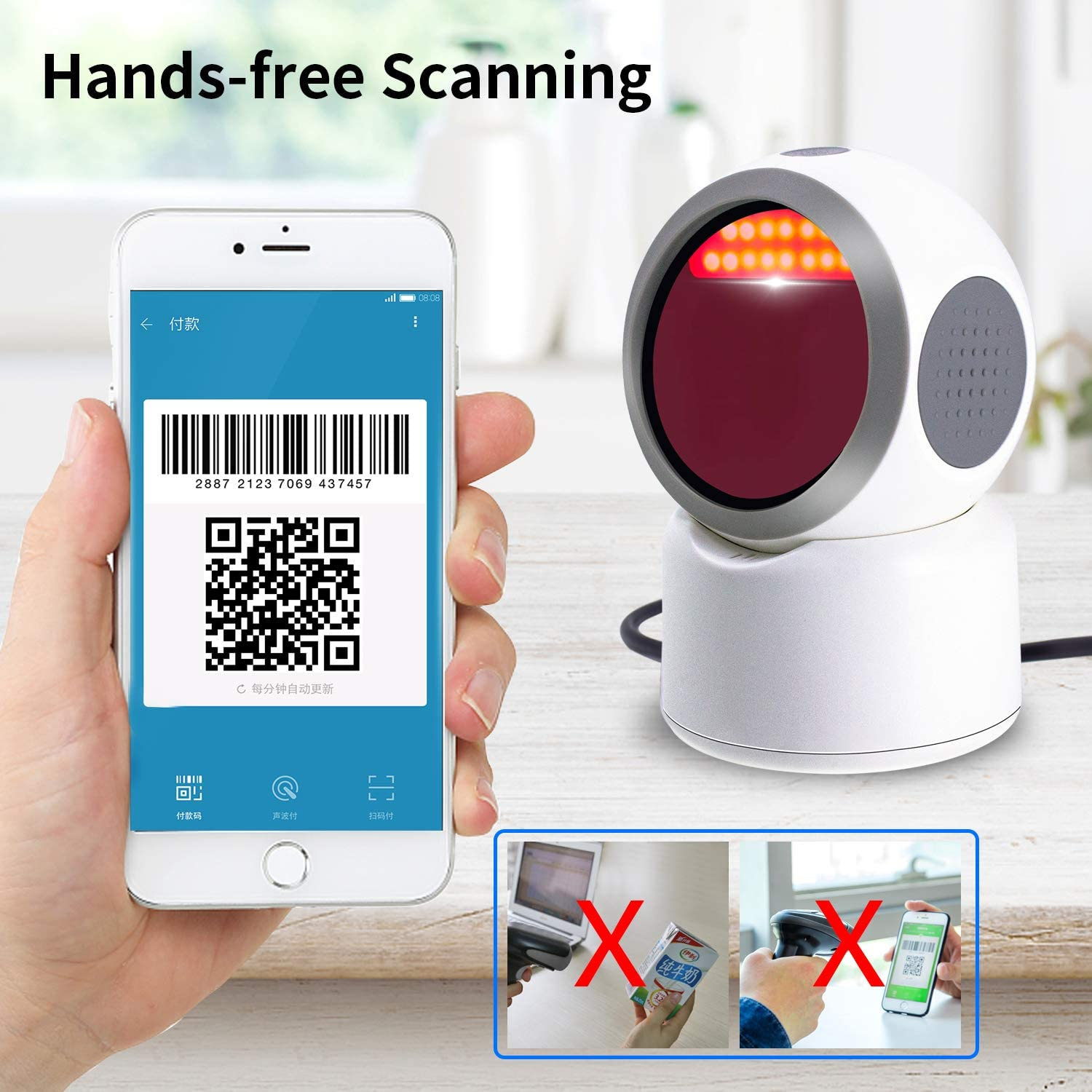 2D QR Barcode Scanner,Symcode Omnidirectional Hands-Free USB Automatic Barcode Reader for Mobile Payment Computer Screen Scan
