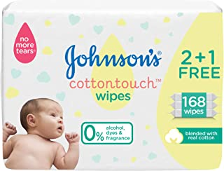 JOHNSON'S Newborn Baby Wipes - CottonTouch, Extra Sensitive Free of alcohol, dyes and fragrance, 2 + 1 Packs of 56 wipes, ...