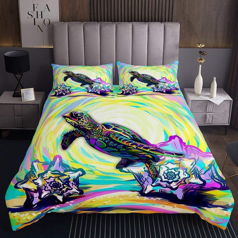 Erosebridal Sea Turtle Cheap SALE Max 47% OFF Start Bedding Set Conch Rainbow Coverl Tortoise