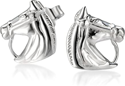 72e942bc7 925 Sterling Silver Horse Symbol of success Stud Earrings