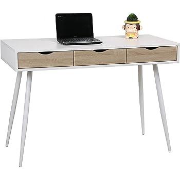 UCLA Mesa estilo nórdico, para salón,escritorio,despacho,estudio,habitación juvenil,ideal teletrabajo.Mesa de madera blanca, patas metálicas y 3 cajones color roble: Amazon.es: Hogar