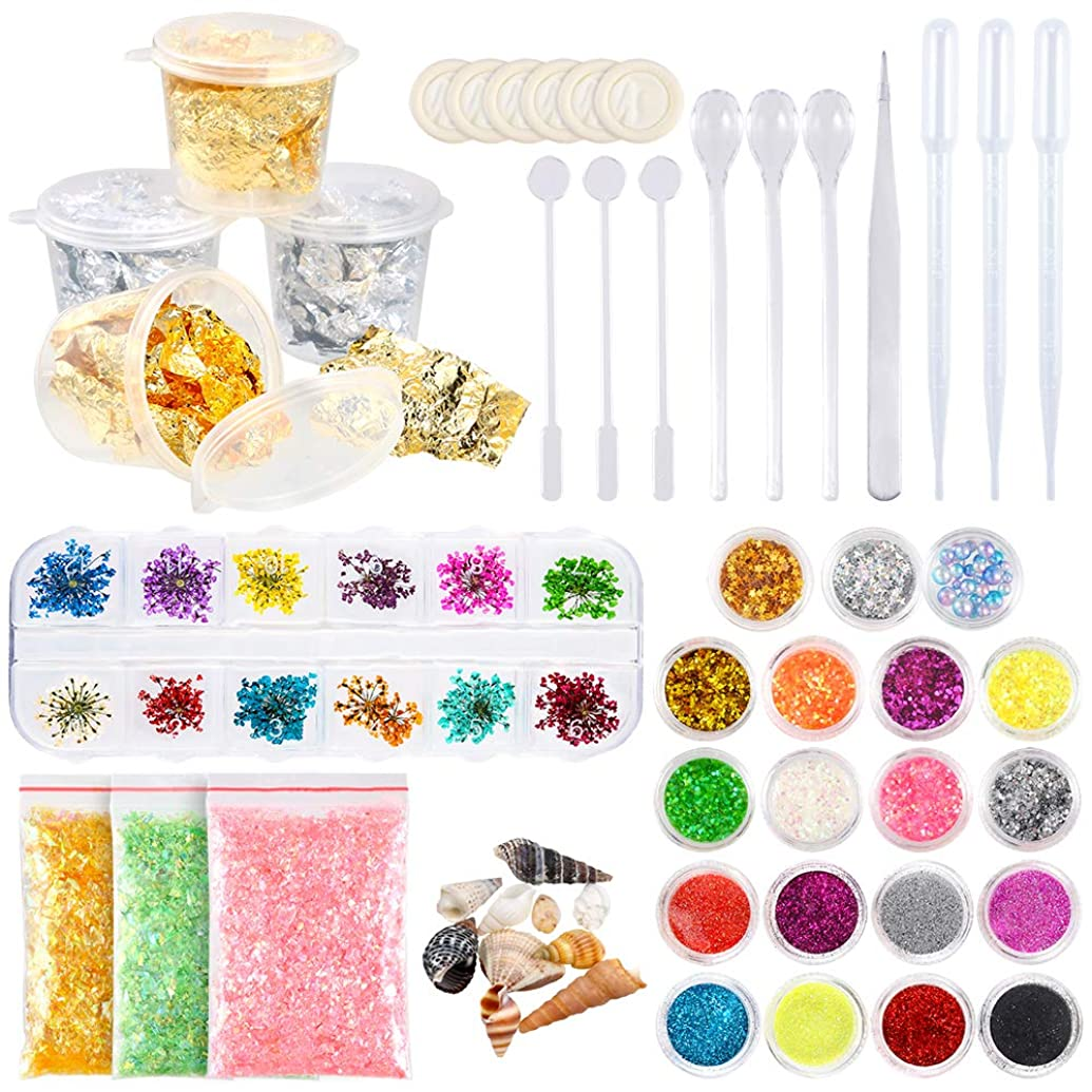 Sntieecr 44 Pieces Resin Jewelry Making Supplies Kit Art Craft Supplies with Glitter, Sequins, Mylar Flakes, Dry Flowers, Beads, Foil, Shell, Tweezer and Spoons for Resin, Nail Art and DIY Crafts