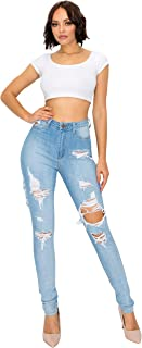 Aphrodite Super High Waisted Jeans for Women - Womens Stretch Distressed Ripped Denim Jeans