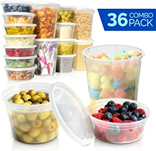 Deli Containers with Lids - Food Storage Containers - Clear Freezer Containers | 36-Pack BPA Free Plastic 8, 16, 32 oz | Cup Pint Quart set | Great for Soup, Meal Prep, Portion Control, Slime and More