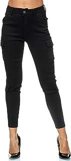 Elara Pantaloni da Donna Cargo Slim Fit Denim Chunkyrayan