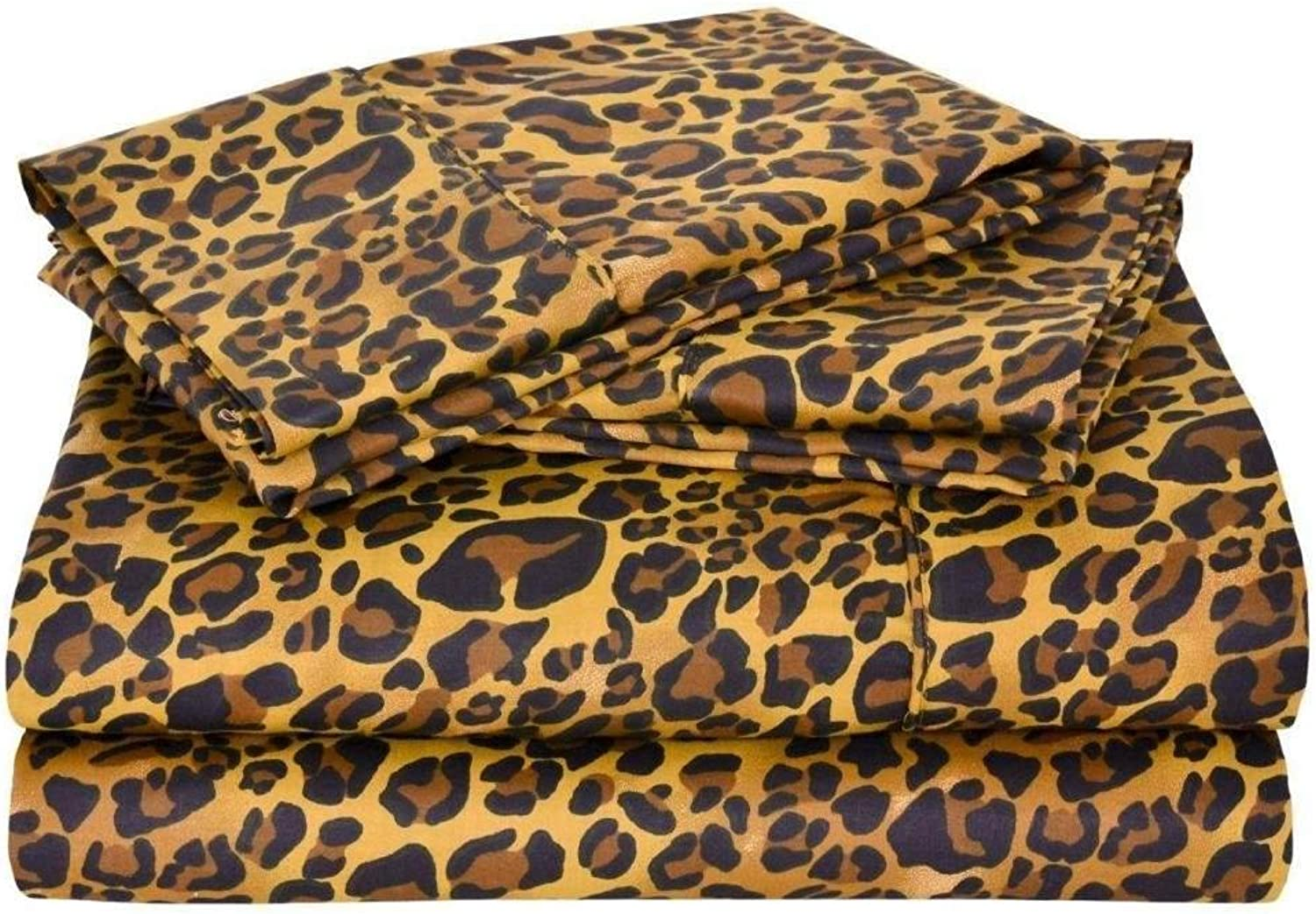4 PCs Sheet Set, 100% Egyptian Cotton 400 Thread Count 6  Deep Pocket RV Trucks, Campers, Airstream, Bus, Boat and motorhomes Easy to fit in RVMattress Leopard Print, Full 53 x80  Size