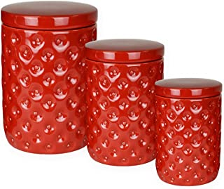 DII Vintage Ceramic Kitchen Containers Nested Caniters, Set, Red 2