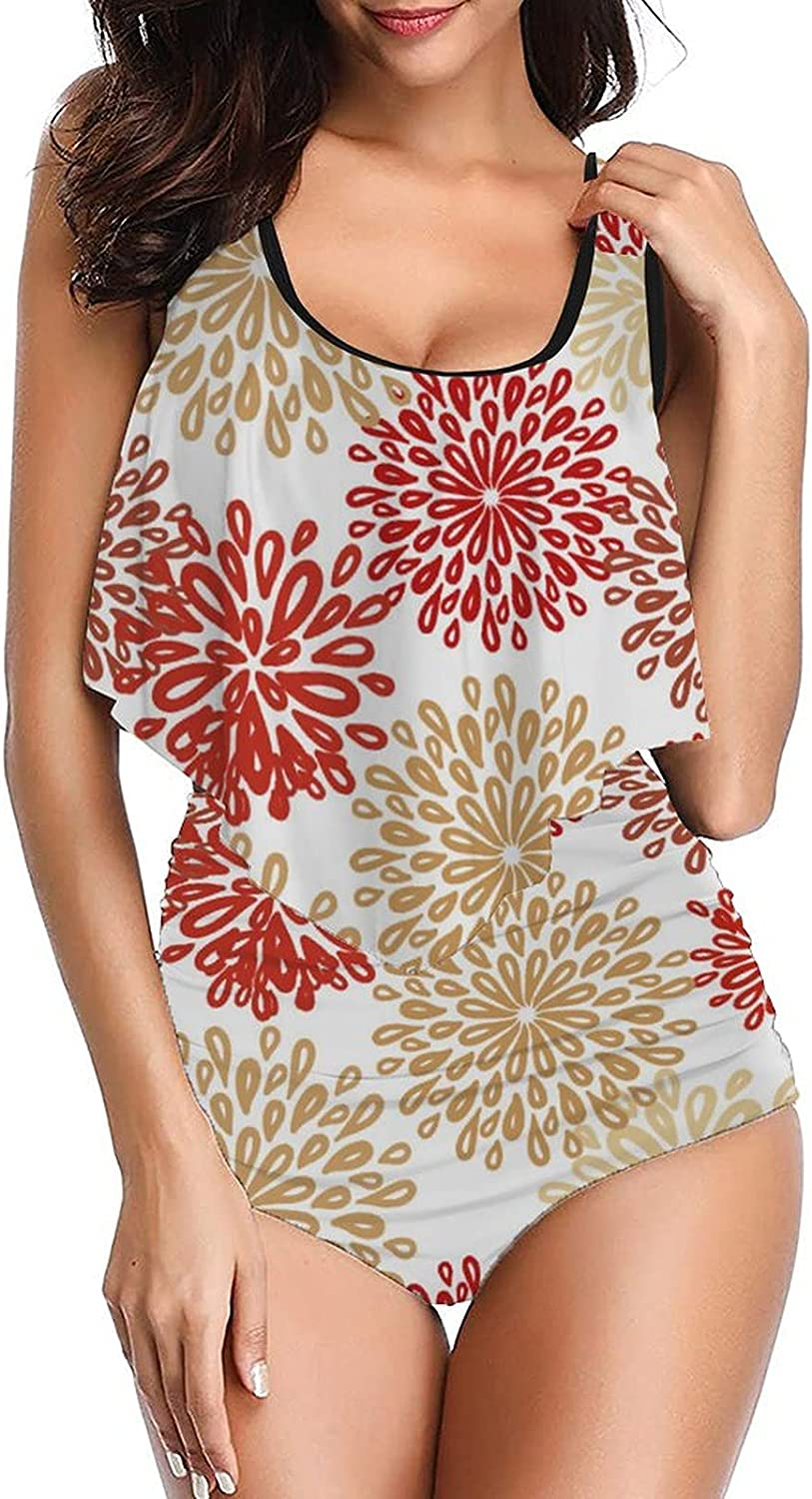 Women Floral Pattern-16 Swimsuits Original Tankinis top with High Waist Bottom Bikini Set Two Pieces Bathing Suit