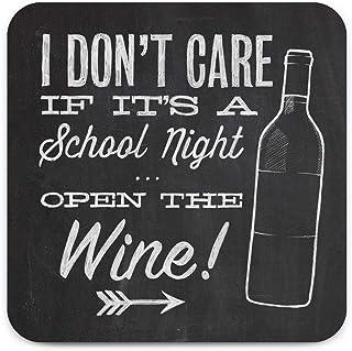 Brainbox Candy - Funny 'School Night Wine Coaster' - Small Gift Ideas For Him Her - Friends Birthday - Housewarming Presen...