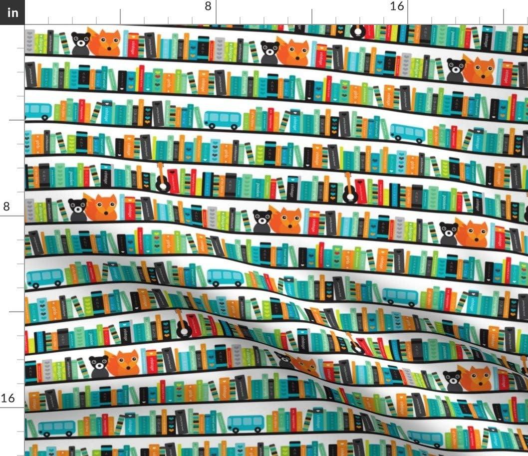 Spoonflower Fabric - Library ABC San Jose Mall Fox School price Bookshelf Books