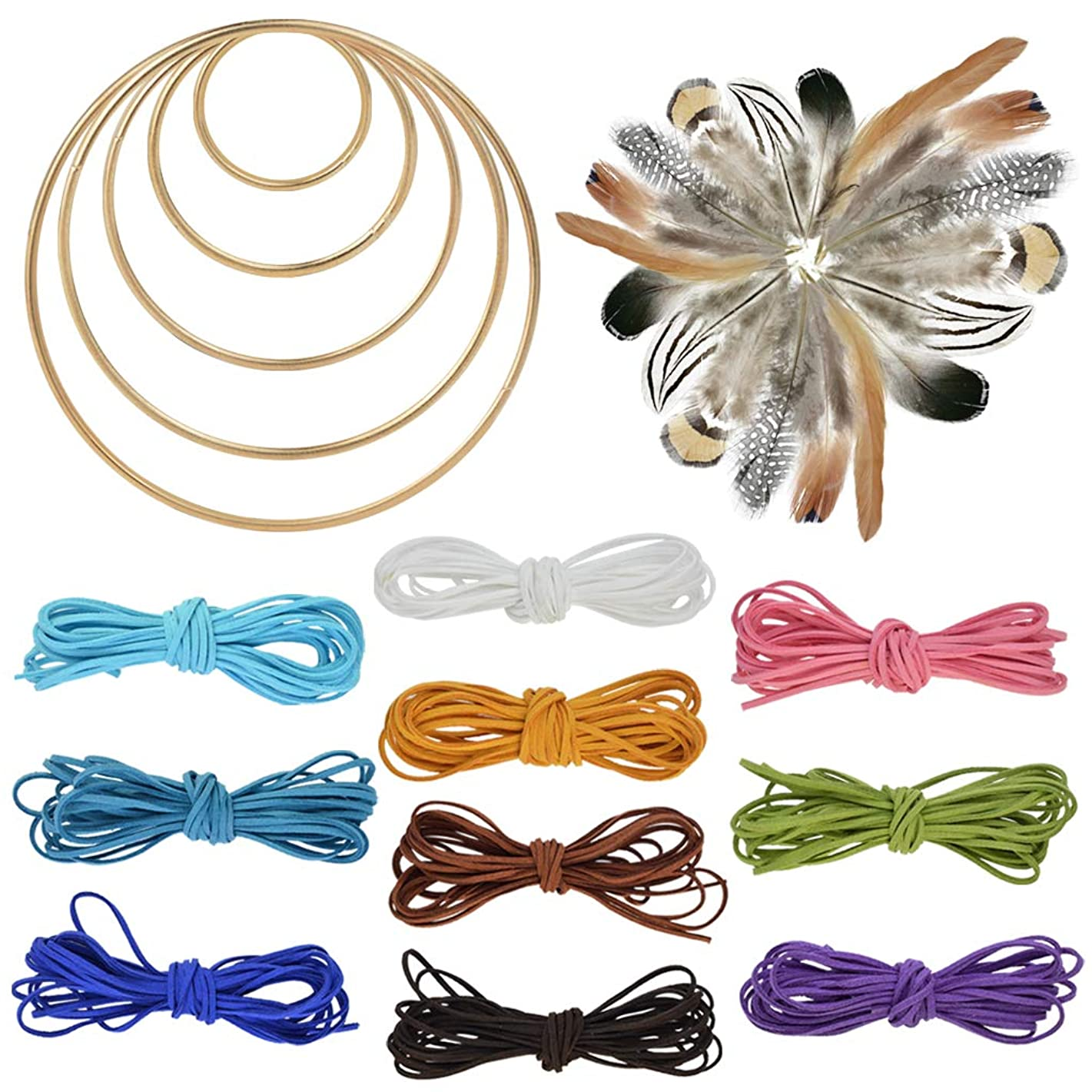 Nydotd 125Pcs Dream Catcher Making Kit, 15 Pcs Metal Rings Hoops Macrame Ring in 5 Size Gold, 100pcs 6 Styled Feathers, 10 Pcs 3 mm Faux Suede Cord String for Dream Catcher Crafts Birthday Party