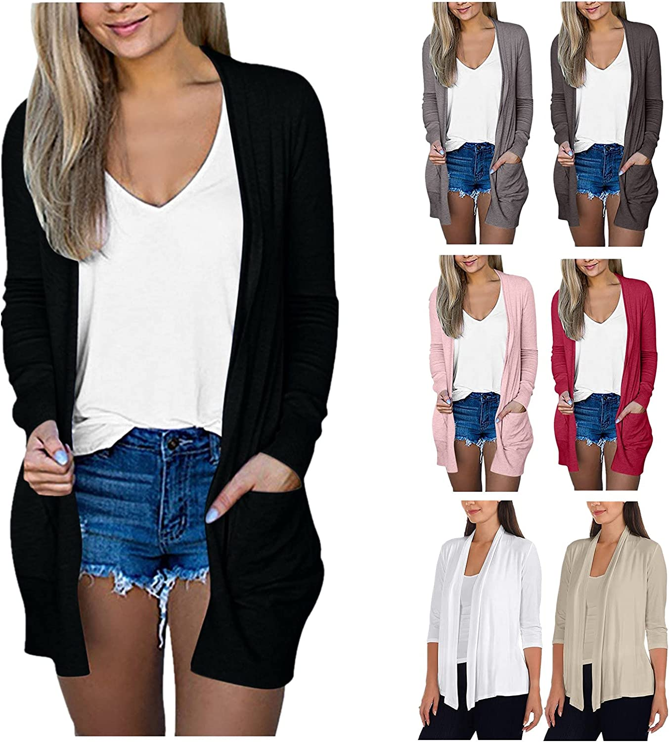 SUIQU Cardigan for Women Solid Color Casual Lightweight Open Drape Long Sleeve Outwear Sweater with Pocket, S-5XL