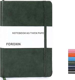 """نوت بوک گالینگور FOROXIN Ruled - A5 Journal با 8.3 """"x 5.7"""" 80gsm کاغذ ضخیم پرمیوم 100 برگ / 200 صفحه نوت بوک جلد سخت چرمی مناسب برای خانه مدرسه"""