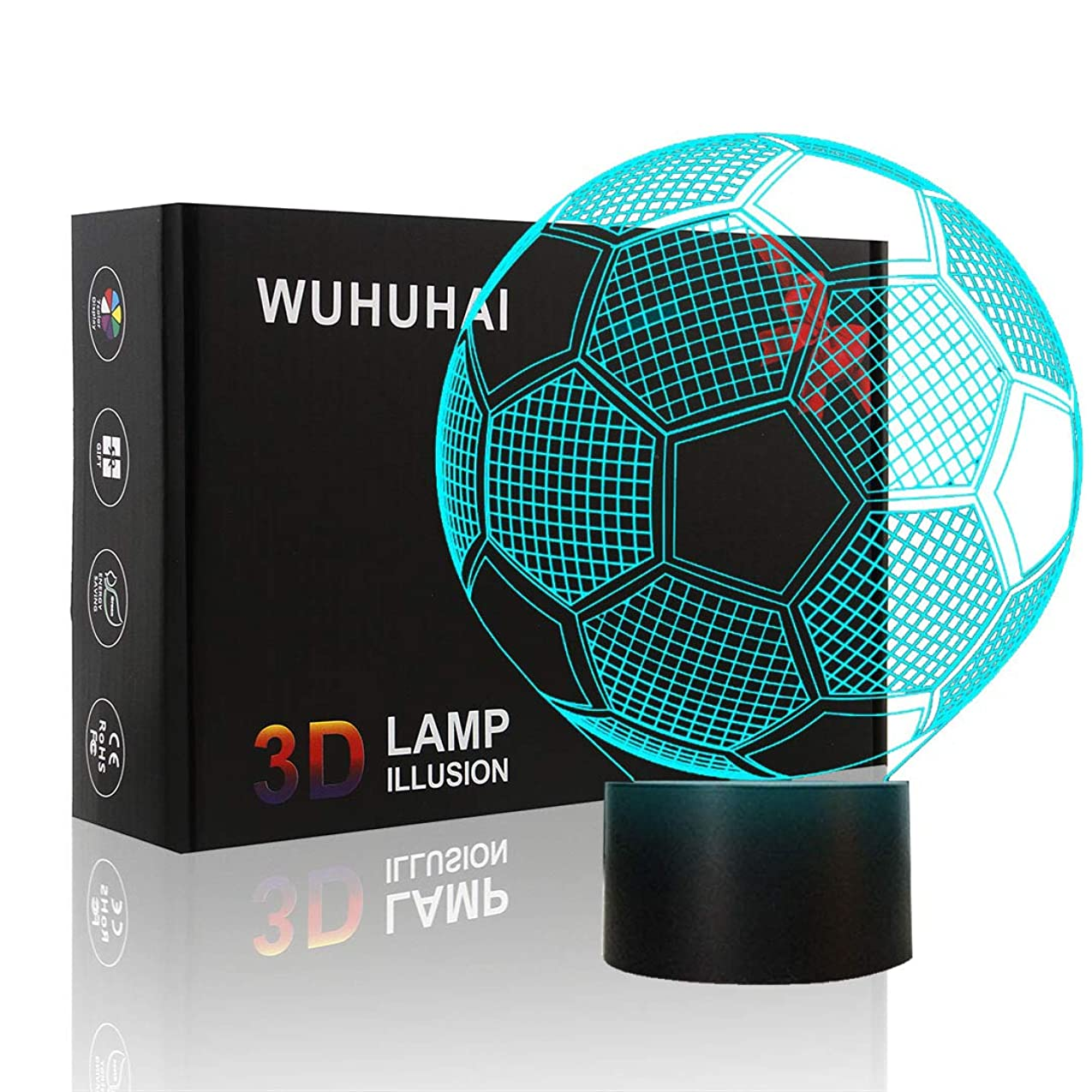 平らな商業の買い物に行く子供用サッカーナイトライト 3Dランプ イリュージョン ナイトライト ギフト 誕生日 タッチボタン 7色 USB充電照明 子供用 バレンタイン 女の子用ギフト