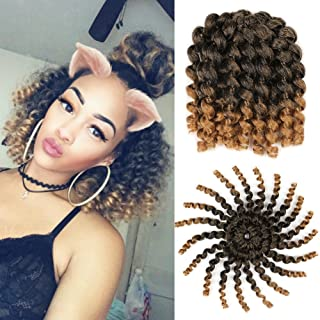 5 Packs Wand Curl Hair 8inch Jamaican Bounce Synthetic Crochet Twist Braids Hair Extension 20strands/pack Xtrend Hair 1B/27#, 5packs/Lot