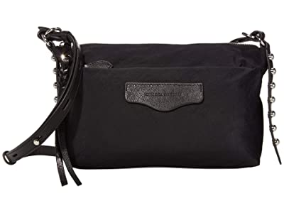 Rebecca Minkoff Bowie Top Zip Nylon Crossbody (Black) Handbags