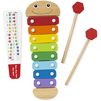 """Melissa & Doug Caterpillar Xylophone, Musical Instruments, Rainbow-Colored, One Octave of Notes, Self-Storing Wooden Mallets, 18"""" H x 6.2"""" W x 2"""" L"""