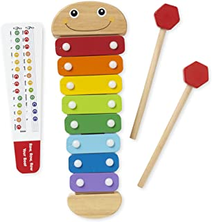 Melissa & Doug Caterpillar Xylophone, Musical Instruments, Rainbow-Colored, One Octave of Notes, Self-Storing Wooden Mallets, 18