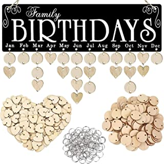 Acoavo Family Birthday Board DIY Wooden Calendar Wall Hanging Birthday Reminder Plaque,with 100 Wooden Tags,Great Mom Gran...