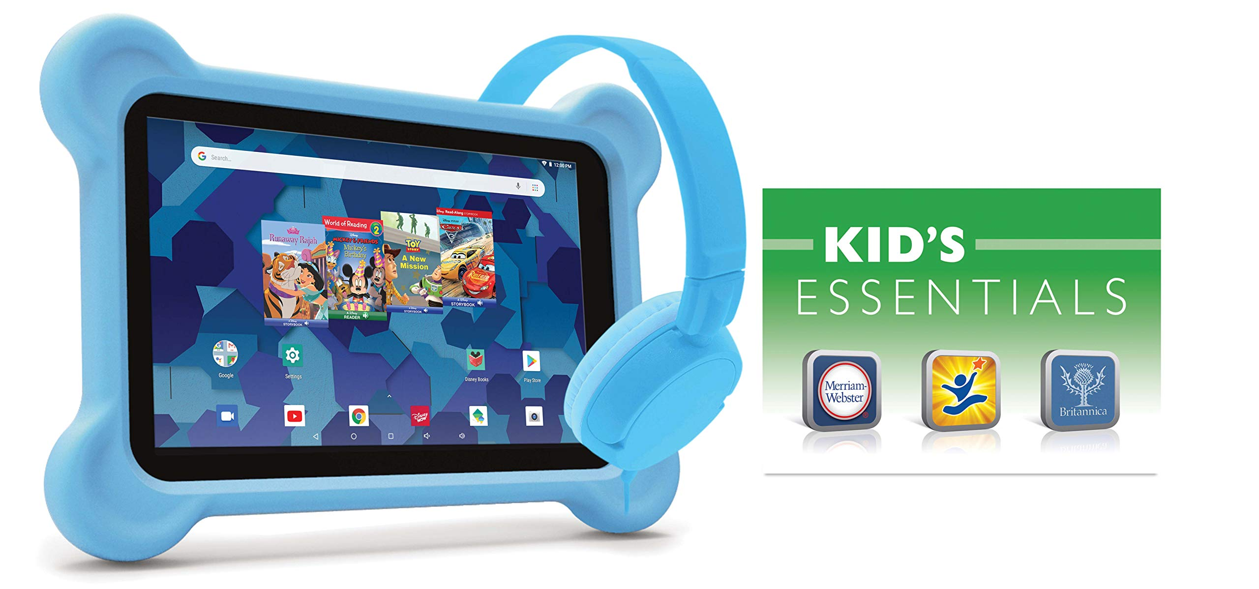 10.1-inch Tablet with Bumper case and Headphones (Blue)
