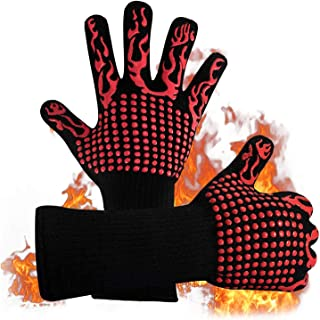BBQ Gloves,1472℉(800℃) Extreme Heat Resistant Grill Gloves,14 inch Ultra-Long Wrist Cooking Gloves for Barbecue,Cooking,Si...