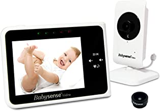 Babysense Video Baby Monitor 3.5 Inch Screen - with Interchangeable Wide Angle Lens, Night Vision, Talk Back, Room Temperature, Lullabies, White Noise, Wide Range and Long Battery Life