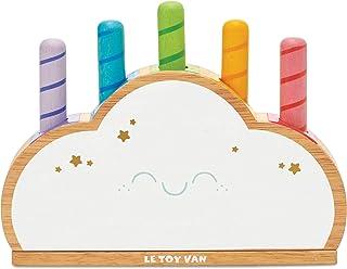 Le Toy Van PL133 - Wooden Baby Sensory Petilou Rainbow Cloud Pop Press And Release Toy   Educational Baby Sensory Montesso...