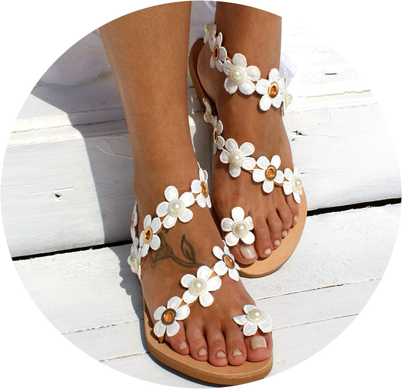 Zombie Jessica Women Sandals Bohemia Style Summer shoes for Women Flat Sandals Beach shoes Flowers Flip Flops Plus Size