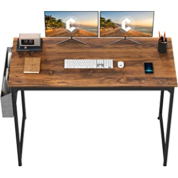 """CubiCubi Study Computer Desk 47"""" Home Office Writing Small Desk, Modern Simple Style PC Table, Black Metal Frame, Deep Brown"""