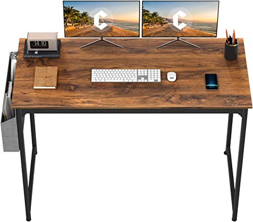 "CubiCubi Study Computer Desk 63"" Home Office Writing Small Desk, Modern Simple Style PC Table, Black Metal Frame, Dee..."