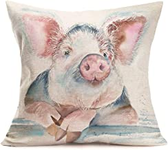 Aremetop Pig Decorative Pillow Cases Lovely Farm Animal Funny Pink Piggy Throw Pillow Case Decorative Cushion Cover Cotton Linen Home Sofa 18''x18'' Pillowslip (Pig)