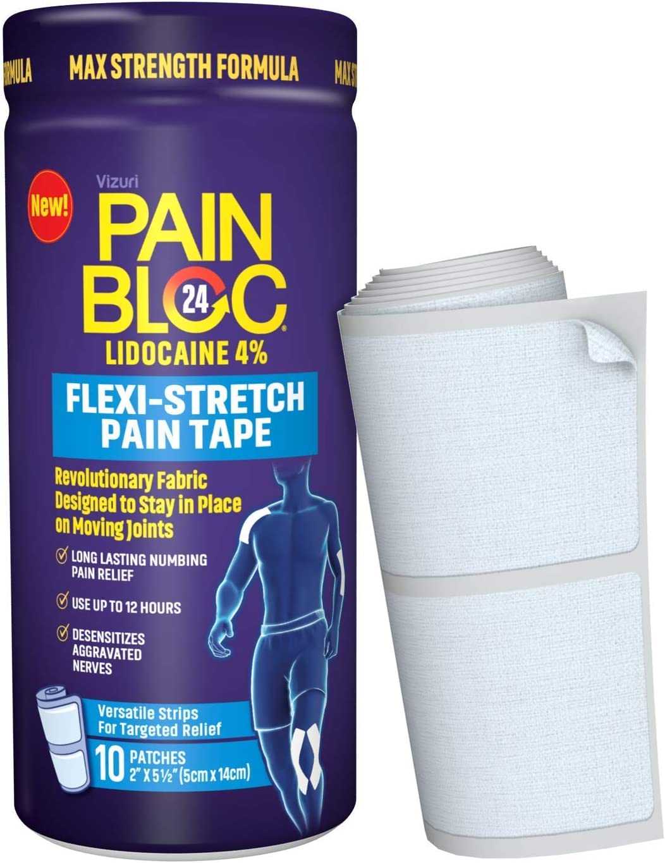 PainBloc24 Flexi-Stretch, Lidocaine 4% Pain Patch, OTC Maximum Strength Lidocaine Patches for Numbing Pain Relief for Knee, Back, Neck, Shoulder, Elbow Pain, 10 Patches : Health & Household