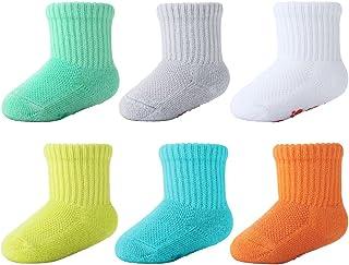 6 pares de calcetines de bambú para bebés Súper suave Suela acolchada Recién nacido Niño tobillo antideslizante Calcetines de tobillo