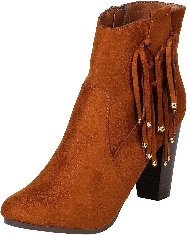 Breckelles Women's Western Tassel Fringe Bead Chunky Stacked Heel Ankle Bootie